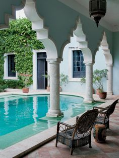 The courtyard at the home of James Jordan in Merida, Mexico, the New York-based vice chairman of the World Monuments Fund. Photo by Paul Cos...