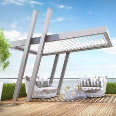 The KÖMMERLING PERGOLA is a visual highlight in every garden. Thanks to its intelligent roof design and aluminium construction, this pergola presents… Pergola Carport, Building A Pergola, Pergola Canopy, Pergola With Roof, Wooden Pergola, Outdoor Pergola, Pergola Shade, Pergola Kits, Pergola Ideas
