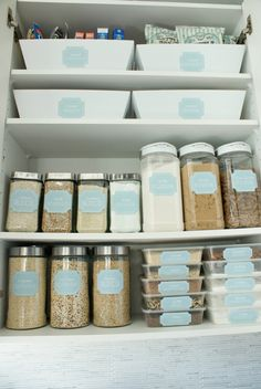 printable pantry labels and good storage idea -- I need to remember those flat containers on the bottom shelf--great way to store the smaller amounts where nothing gets lost in the back.