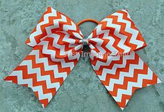 """3"""" Width Cheer Bow 7""""x6.5"""" Texas Size Cheer Bow Orange and White Chevron on Etsy, $5.50"""