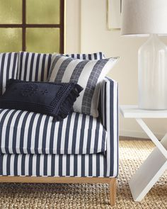 Stripes on stripes living room inspiration | Barton Sofa via Serena & Lily