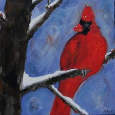 Original Oil Painting of a Red Bird perched on a branch during a winter snow storm. Colors are red, brown, greys, black and white and the oil