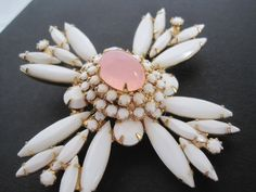 White Maltese Cross Brooch/Pendant, Milk Glass, Pink Cabochon Center,  Maltese Cross Brooch