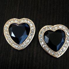 Black and Gold Rhinestone Heart shaped gauges plugs earrings #BestofEtsy #jewelry