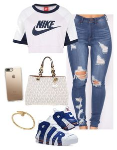 """A N G E L "" by dejlikeloaf ❤ liked on Polyvore featuring NIKE, Michael Kors and Casetify"