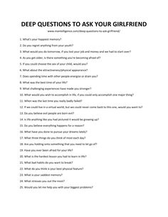List of Deep Questions To Ask Your Girlfriend Questions To Ask Girlfriend, Questions To Get To Know Someone, Deep Questions To Ask, Getting To Know Someone, Get To Know Me, Relationship Challenge, Relationship Questions, Relationship Tips, Relationships