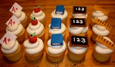 Custom 'SCHOOL DAYS' Fondant Toppers for cupcakes, cookies, or cake - 1 DOZEN $17.95 #etsy #fondant #school