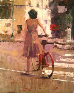 "Ann Feldman: ""Red Bicycle, Paris"", 11x14"""