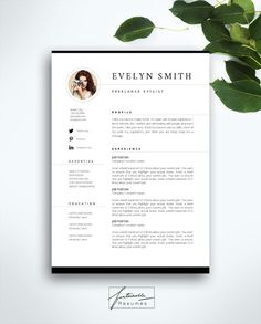 Resume Template 3 page / CV Template  Cover by FortunelleResumes                                                                                                                                                                                 Mais