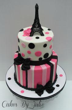 Eiffel Tower- Paris themed 1st Birthday Cake!