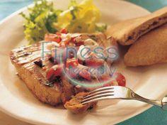 Grilled Mediterranean Tuna Steaks recipe via Betty Crocker Whole 30 Recipes, Greek Recipes, Light Recipes, Low Carb Recipes, Cooking Recipes, Healthy Recipes, Tuna Steak Recipes, Seafood Recipes, Seafood Meals