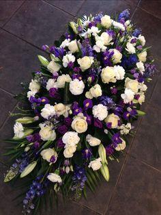 Blue and white casket sprays Casket Flowers, Grave Flowers, Cemetery Flowers, Funeral Flowers, Funeral Floral Arrangements, Church Flower Arrangements, Beautiful Flower Arrangements, Beautiful Flowers, Unique Flowers