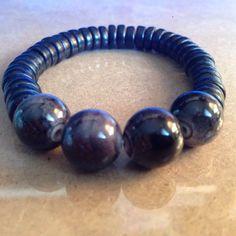 Black wood beaded bracelet with grey-white acrylic beads by CVioletJewelry