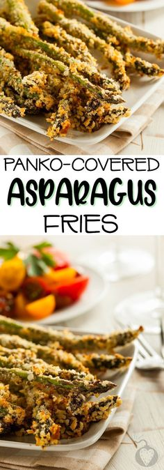 Unbelievably Amazing Panko-Covered Asparagus Fries Potatoes were So last century. Toss those french fries in the trash where they belong and come savor crisp asparagus fries with the rest of us. Healthy Side Dishes, Side Dish Recipes, Dinner Recipes, Veggie Dishes, Asparagus Fries, Asparagus Recipe, Dishes To Go, Good Food, Yummy Food