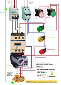Esquemas eléctricos: Arranque directo de un motor trifásico, con protec...