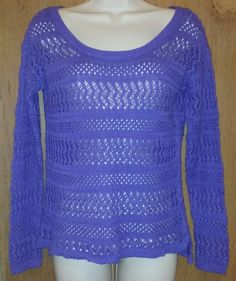 a.n.a A New Approach Long Sleeve Crocheted Scoop Neck Pullover Sweater Sz Small #ana #ScoopNeck