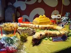 Indiana Jones party - snake sandwich