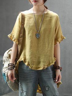 Linen Tops - Shop Affordable Designer Linen Tops for Women online Kurta Designs Women, Blouse Designs, Linen Dresses, Blouse Styles, Sewing Clothes, Casual Tops, Blouses For Women, Casual Outfits, Linen Tops
