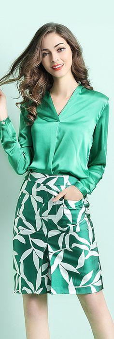 Green Shirt with Print Skirt