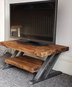 metal furniture Rustic oak tv stand unit cabinet metal Z frame design industrial chic in Home, Furniture DIY, Furniture, TV Entertainment Stands Industrial Tv Stand, Industrial Design Furniture, Rustic Industrial, Rustic Furniture, Furniture Design, Industrial Decorating, Modern Rustic, Simple Furniture, Modern Tv