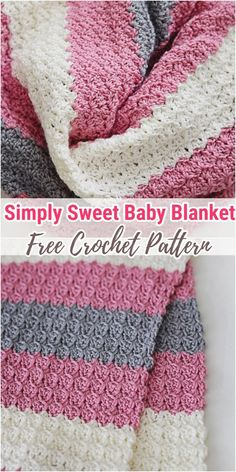 Simply Sweet Crochet Baby Blanket Pattern Simply Sweet This baby blanket pattern is true to it s name You will love the simple stitch pattern Mix and match with shades of your Free Baby Blanket Patterns, Crochet Baby Blanket Free Pattern, Baby Patterns, Crochet Baby Blankets, Stitch Patterns, Simple Crochet Blanket, Crochet Quilt Pattern, Best Baby Blankets, Motifs Afghans
