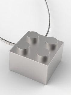Silver LEGO pendant.