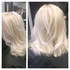 Blonde hair, highlights, long bob, platinum blonde, curls, textured bob, lob, haircut and hair color by me