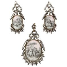 Rare Georgian Romantic Pendant and Earrings in Cut Steel and Porcelain   1stdibs.com