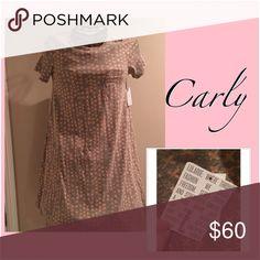 LulaRoe Carly Dress Gray with peachy-pink x's. Pocket dress. LulaRoe. NWT. Carly. L LuLaRoe Dresses Asymmetrical