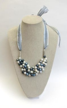 Crochet Mix Pearl Bib Necklace with Organza by Top Shelf Jewellery by Top Shelf Jewellery & Accessories