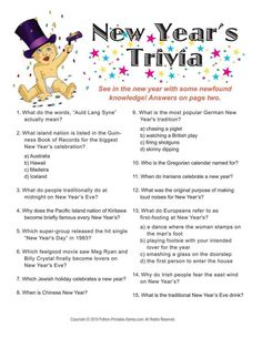 The Best New Year S Eve Games For Adults Four Printable Trivia