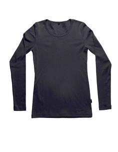 Naisten joustava pitkähihainen T-paita musta   R-Collection
