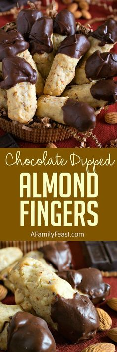 Chocolate Dipped Almond Fingers Chocolate Dipped Almond Fingers - Light and crumbly almond-stuffed shortbread cookies dipped in chocolate. Brownie Cookies, Chocolate Dipped Cookies, Almond Cookies, No Bake Cookies, Cookie Desserts, Cookies Et Biscuits, Yummy Cookies, Just Desserts, Yummy Treats