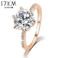 17KM High quality Silver or Gold Color Crystal Ring Jewelry Wedding Rings For Women Accessory