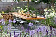 Great small garden idea with seating | Vestra Wealth's Vista garden, Hampton Court Palace Flower Show 2014