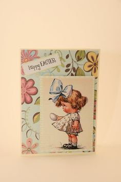 LIttle Girl Vintage Blue Floral Easter Card by CatieGraceCreations   #craftshout0223