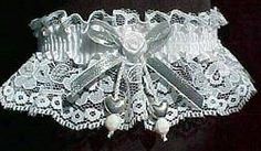 Out & About - VALENTINE GARTER. Silver Double Hearts Garter. White Lace Garter with White Satin Band, Silver Metallic Bow and White Satin Rose. Prom Garters - Wedding Garters - Bridal Garters. Style  # FM-2AN-ST / Visit: www.garters.com/page61.htm