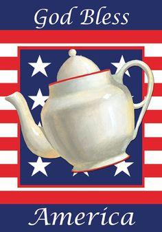 Custom Decor Flag - Patriotic Tea Pot Decorative Flag at Garden House Flags at GardenHouseFlags