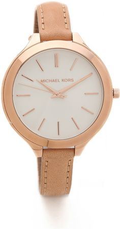Michael Kors Leather Slim Runway Watch - Lyst