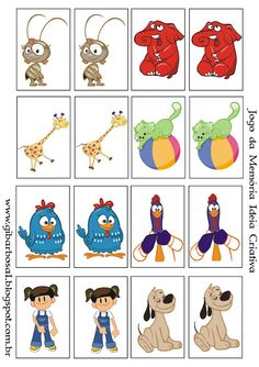 Jogo da Memória Personagens Galinha Pintadinha Rio Movie, Lottie Dottie, Quiet Book Templates, Baby Boy Birthday, Preschool Printables, Memory Games, Silhouette Projects, Kids Learning, Activities For Kids