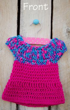 Crochet Baby Dress/Dark Pink with Multicolor por FashionsbySandra, $30.00