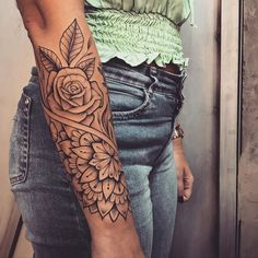 Tattoos are beautiful, mysterious, and have a special personality. People want to have a beautiful and powerful tattoo to inspire themselves. Arm Sleeve Tattoos For Women, Tribal Sleeve Tattoos, Women Tribal Tattoos, Mandala Tattoo Sleeve Women, Forearm Mandala Tattoo, Tribal Band Tattoo, Tattoo Women, Women Sleeve, Creative Tattoos