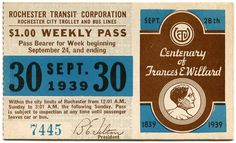 Rochester NY City Trolley 1939 Weekly Pass