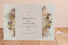"""Floral Runner"" - Floral & Botanical, Elegant Foil-pressed Save The Date Cards in Gold Leaf by Phrosne Ras. Save The Date Postcards, Save The Date Cards, Unique Home Decor, Christmas Holidays, Wedding Invitations, Dating, Place Card Holders, Gold Leaf, Floral"