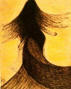 An untitled sketch of a dancing girl by Rabindranath Tagore. Beautiful painting depicting movement of long flowing hair.
