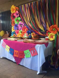 Quinceanera Party Planning – 5 Secrets For Having The Best Mexican Birthday Party Mexican Birthday Parties, Mexican Fiesta Party, Fiesta Theme Party, Mexican Dessert Table, Mexican Candy Table, Mexican Fiesta Decorations, Pink Tablecloth, Theme Parties, Gypsy Decor