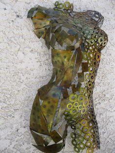 Metal Wall art sculpture abstract torso by Holly Lentz sexy nude metal torso
