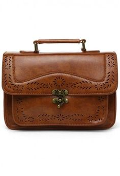 Brown Vintage Satchel Bag with Cut Out Detail - latest side bags, tan coloured bags, black and tan bag *ad