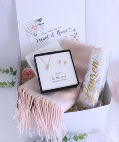 Silver Bracelet with personalised box Gifts for Bridesmaids Maid of Honour Mother or the Bride Flower Girls