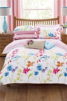 Sumptuous bedding sets for a cosy feel. Create a beautiful bedroom with single, double and king bed sets. Next day delivery and free returns available. Bedding Sets Uk, Bedding Sets Online, Luxury Bedding Sets, Grey Bedding, Linen Bedding, Bed Linens, Comforter Sets, Floral Bedding, Bed Linen Design